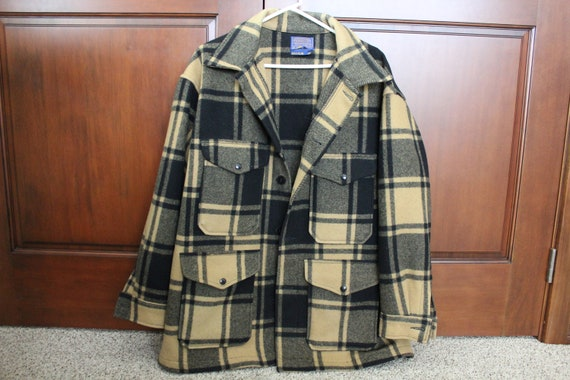 Vintage Pendleton Plaid Field Coat, Magnum 2X, 1960s Mens Wool Blanket Jacket, Black Tan