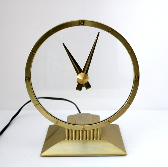 Vintage Jefferson Golden Hour Clock, Desk Table Electric Clock, See Thru, Mid Century, Clear Face, Gold Toned
