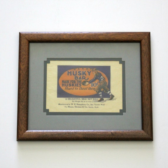 Vintage Husky Huskies Candy Bar Wrapper, UW University of Washington Football, U of W College