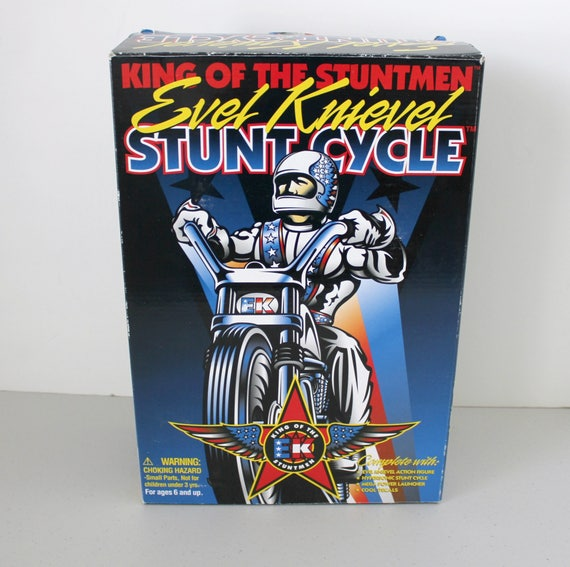 1998 Evel Knievel Stunt Cycle Toy MIB New in Box, Motorcycle Stuntman