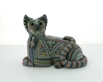 """Jon Anderson Large Fimo Cat Polymer Clay Art 5.75"""" Long"""
