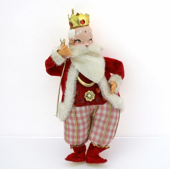 "Vintage Fairy Elf King Santa, 7.5"" Tall, Christmas Ornament, Tree Decoration"