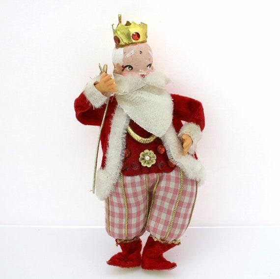 """Vintage Fairy Elf King Santa, 7.5"""" Tall, Christmas Ornament, Tree Decoration"""