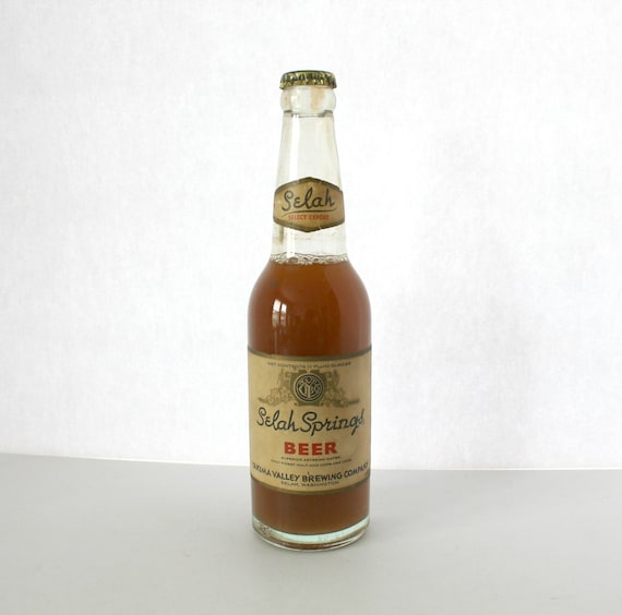 Vintage Selah Springs Beer, Yakima Valley Brewing Company, Select Export, 1930s 40s Sealed Bottle