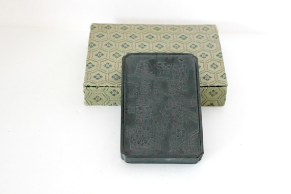 Antique Chinese Printing Ink Block in Storage Box