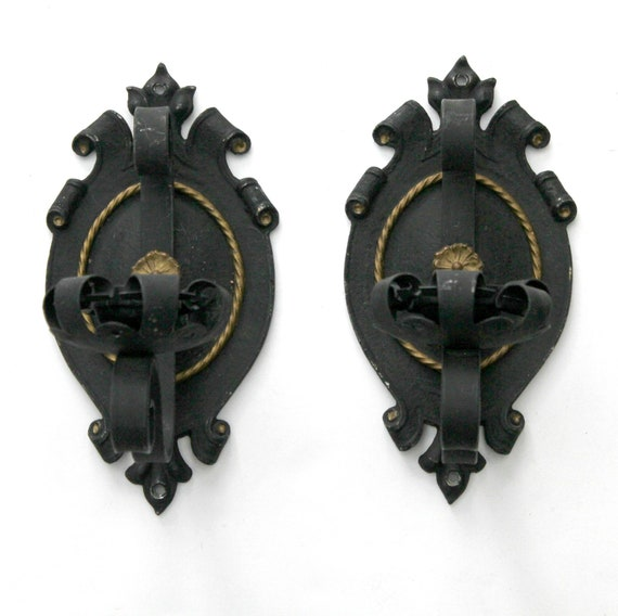 Pair Antique 1940s Wall Sconces | Black Gothic Metal Candle Holders