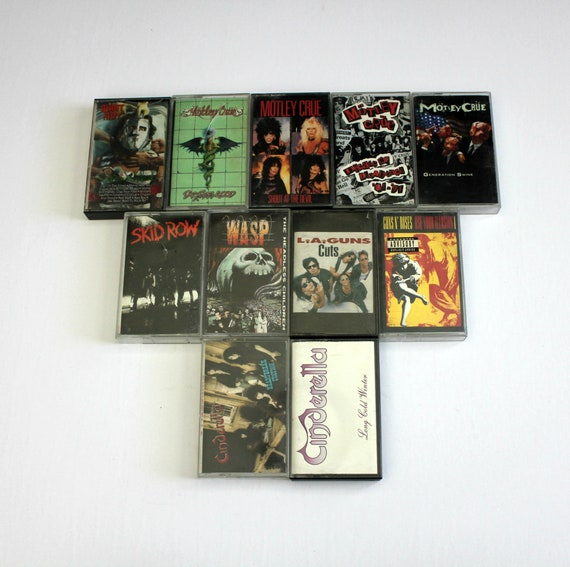 VIntage Heavy Metal Cassette Tape Lot of 11   Motley Crue   Guns N Roses   Quiet Riot   WASP   Cinderella and more