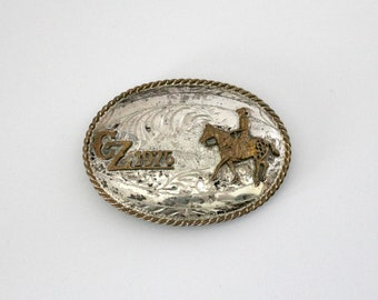 Vintage CZ 1975 Belt Buckle, Sterling Silver, Nickel, Western Cowboy, Horse