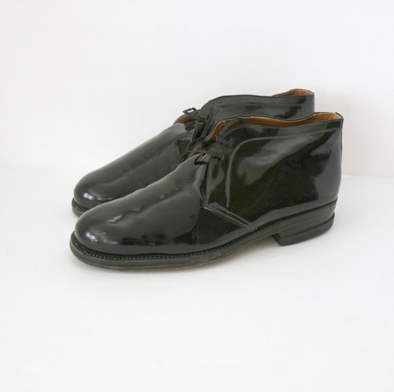 Black Patent Mens Dress Shoes, 1960s Vintage Leather Oxfords Size 43 EU, 9 US