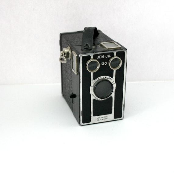 Vintage Jem Jr 120 Box Camera, Art Deco, J E Mergott