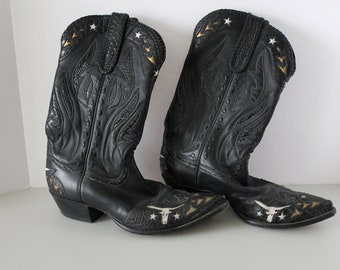 Falconhead Inlaid Leather Cowboy Boots, Steers, Stars, Western, Black Size 10