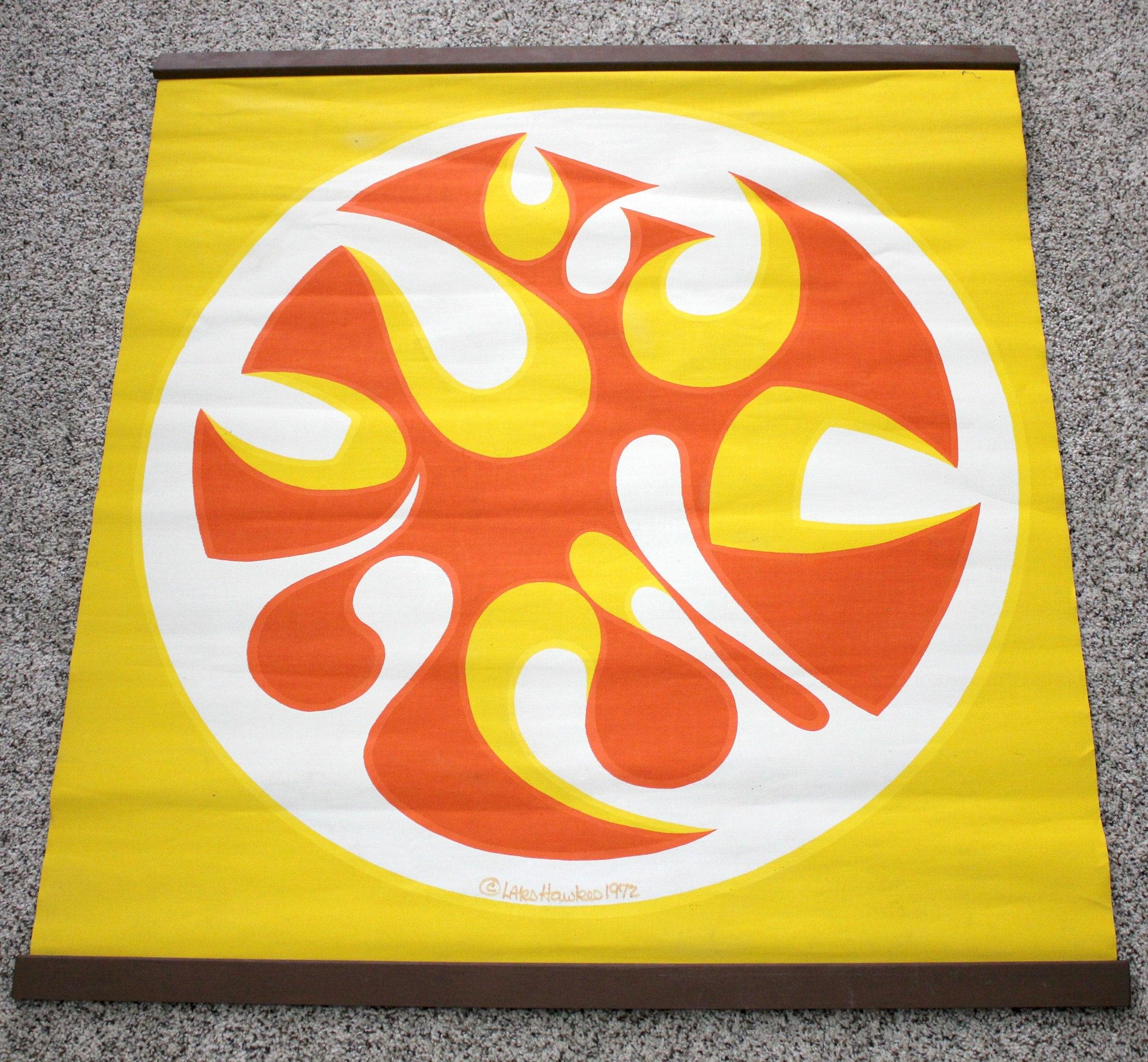 Lars Hawkes 1972 Silkscreen Wall Hanging Art Print, Abstract Orange ...