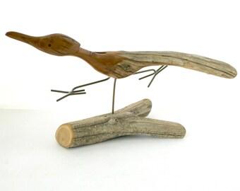 Roadrunner Wood Sculpture by Dave Hughes | 1980s Vintage Driftwood Wooden Bird Sculpture