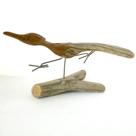 Roadrunner Wood Sculpture by Dave Hughes Vintage | 1980s Driftwood Wooden Bird Sculpture