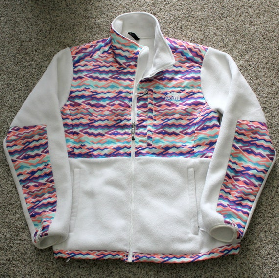 North Face Denali Fleece Zip Up Jacket, Vintage Women's White Polartec Multi Color Zigzag