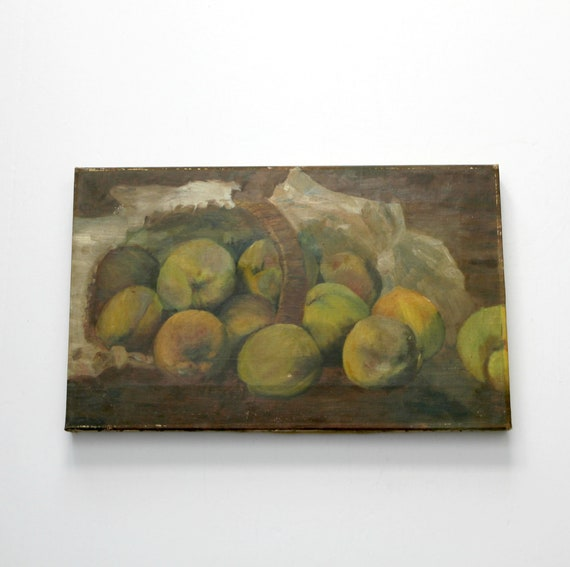 Original Still Life Fruit Oil Painting | 1930s Cottage Chic Vintage Kitchen Wall Art