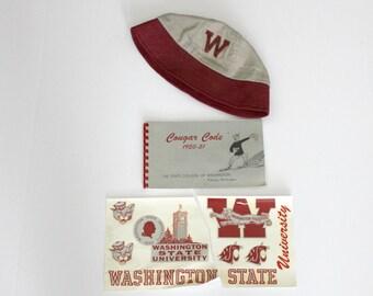 Lot WSU Cougars Washington State University College 1950s Memorabilia, Hat, Decals, Code Book Guide 1950 - 1951 60th Anniversary