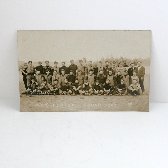 Antique RPPC WSC Football Squad Team, Washington State College, Pullman WA