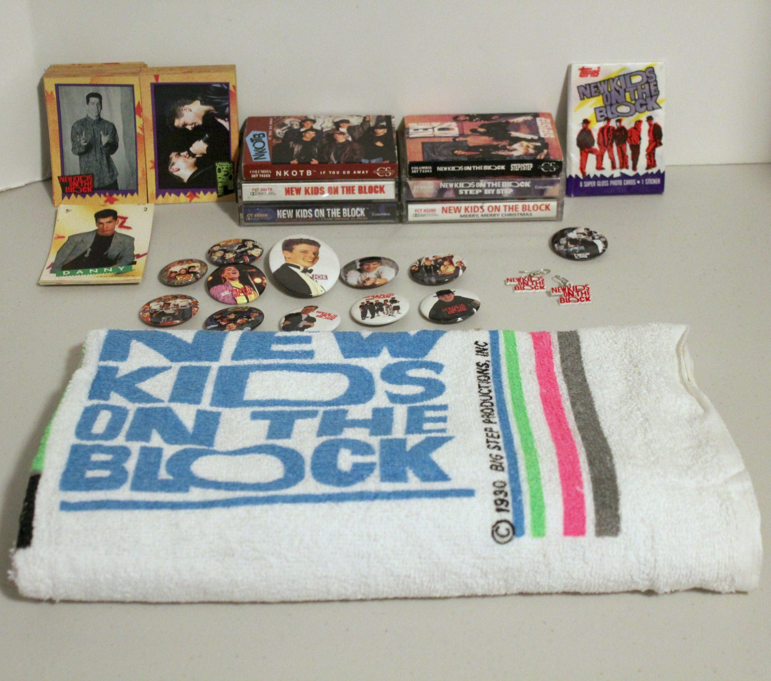 NKOTB Towel, Red Earrings, 6 Cassette Tapes, Topps Cards, Pins ...