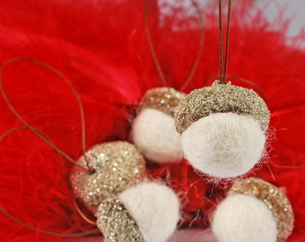 Glittered hanging acorn Christmas ornaments (silver) (group 3B)