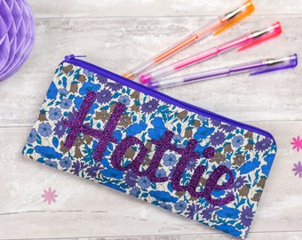 Name Pencil Case - glitter pouch - Liberty of London - personalised - zip pouch - school supplies - stationery - purple floral personalized