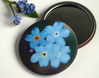 Forget-Me-Not Handbag Mirror - bridesmaid gift - flower girl gift - gift for flower lover - wedding favour