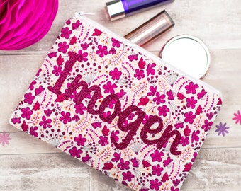 Name Make-Up Bag - Personalised Toiletries Bag - Liberty zip pouch - personalized makeup bag - washbag gift - glitter name make-up pouch