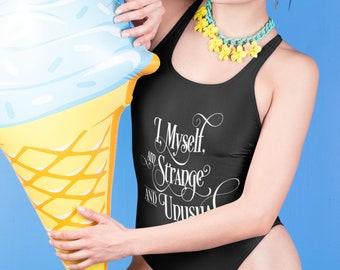 I, myself, am strange and unusual - Beetlejuice inspired Swimsuit - Women's Bathing Suit