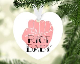 Riot Baby  Heart Christmas Tree Ornament