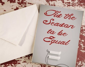 Holiday Card Card Set of 25 - Tis The Season To Be Equal