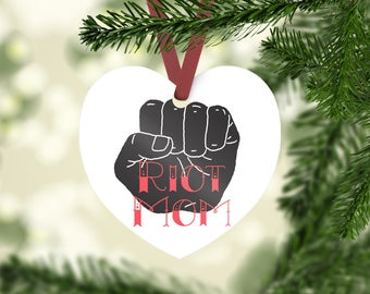 Riot Mom Ceramic Heart Christmas Tree Ornament