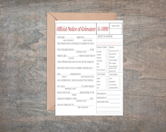 Print At Home - Airing of Grievances Card, Printable Card, Mature, Instant Download, Funny Card, Print at Home