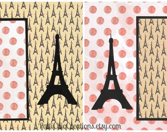 Paris Themed Pre-Made Scrapbook Album Pages, 8x8, Set of 2, Summer Vacation, Honeymoon, Europe, Can be placed on 12x12 page