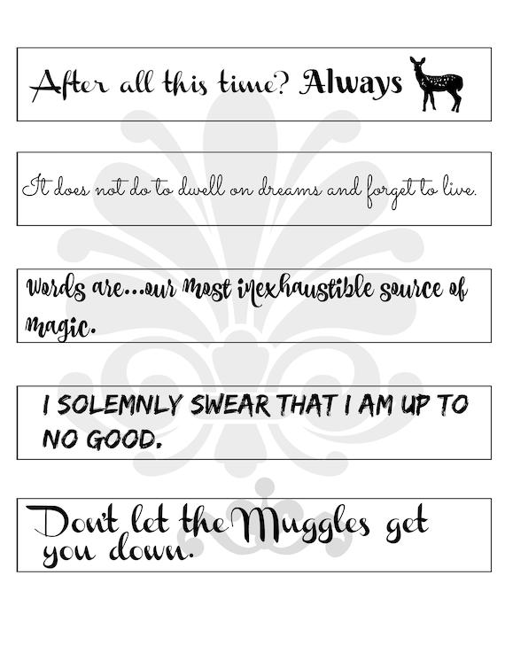 Harry Potter Inpsired Zitate Lesezeichen Druckbare Digitale Jpeg Geschenk Für Buch Liebhaber Leser Potterheads Dumbledore Snape Immer