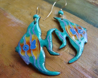 Handmade Fine Cloisonne Sunset Beach Earrings Sterling Silver Drop Dangle Artisan Jewelry Delia Stone Beach Glass Mermaid Life