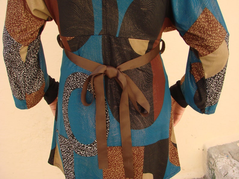 Gold /& Brown Vintage Lolita Fashion Top Geometric Pattern in Shades of Teal