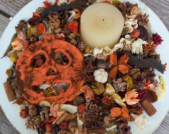 Country Jack-O-Lantern Potpourri, Halloween Potpourri,  Rustic, Pumpkin, Bat, Room Scent, Halloween Decoration, Refresher Oil Included