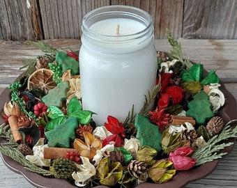 Country Christmas Artisan Potpourri with a Christmas or Winter 16 ounce Soy Candle