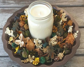 Cozy Country Cabin Rustic Artisan Potpourri with 16 ounce Soy Candle