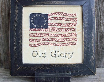 Old Glory Framed Stitchery, US Flag, American Flag, Stars and Stripes, Independence Day, July 4th, Rustic, Decoration, Americana, Patriotic