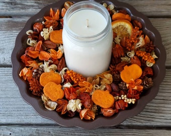 Autumn Pumpkin Patch Artisan Potpourri with a Fall Soy Candle