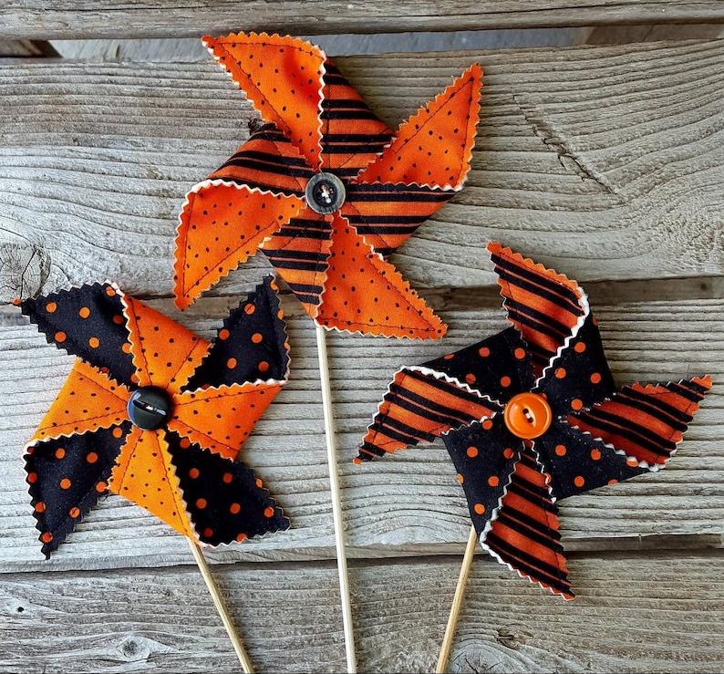 Halloween Pinwheel Party Decoration  Polka Dots and Stripes image 0
