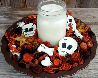 Rattling Bones Halloween Artisan Potpourri with Halloween Soy Candle