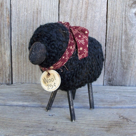 black wooly sheep rustic country farmhouse decor checkered etsy
