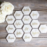 Calligraphy names on Italian Carrara Marble hexagons for wedding favors, escort table, paper weight, coaster, bridal shower, wedding.