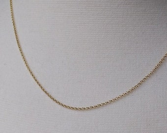 Adjustable Length Gold Chain Necklace, 18K Gold on Sterling, Layering Necklace, Replacement Chain, 18 to 22 inch gold pendant chain