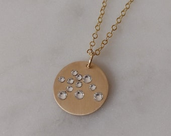Aquarius Necklace Gold, Celestial Crystal Necklace, Gold Chain Necklace, Zodiac Choker, Gold Pendant, Zodiac Necklace