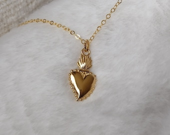 Gold Sacred Heart Necklace on 14K Gold fill Chain, Gold Chain Necklace, Heart Necklace, Religious Necklace, Healing Necklace
