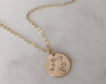 Zodiac Necklace Gold, Crystal Necklace, Zodiac Choker, Gold Pendant, Zodiac Necklace Silver, Libra Necklace, Taurus Jewelry, Gemini Necklace