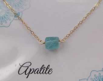 Ocean Blue Apatite Raw Crystal Necklace Choker on fine 14K Gold fill chain, healing stone jewelry, raw stone necklace, yoga gift